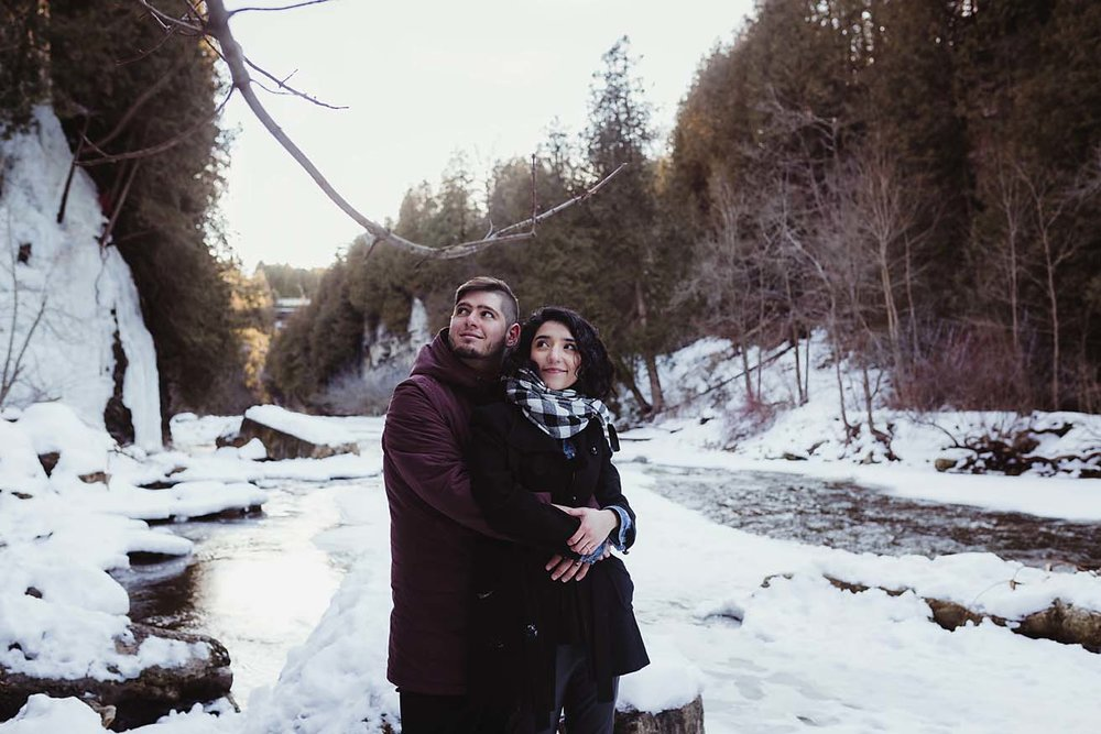 documentary winter engagement photography elora conservation park copperred photography