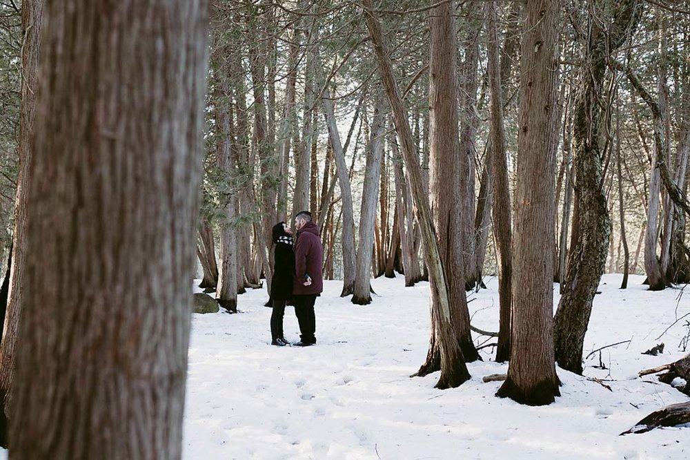 winter engagement photographer at elora gorge | documentary photographer CopperRed