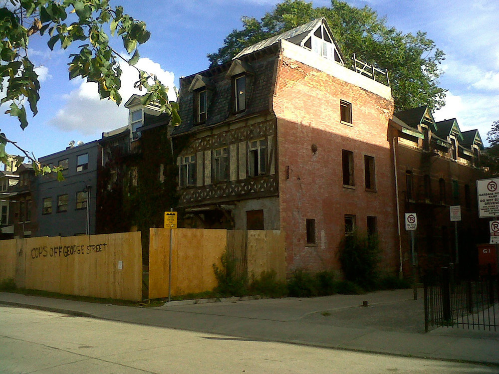On October 17 2011, Eleanor McGrath took this photo of 295 George Street home the day she requested it to be placed on Toronto's Heritage Preservation list.  Two days later it was gutted by a three-alarm arson fire.