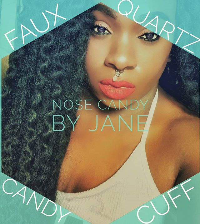Shutout to the swaggy gorgeous @a.c.i.dapparel89 rocking her Nose Candy by Jane! Faux Quartz Candy Cuff available now in our FB shop! Link in bio