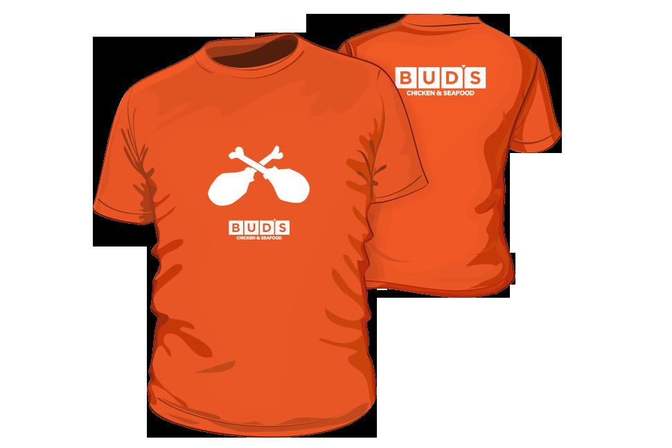 Bud's Chicken & Seafood - rebrand proposal shirt mockups