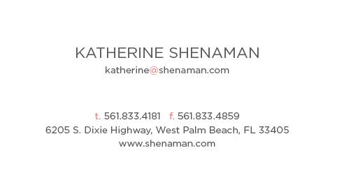 Katherine Shenaman Interiors - business card