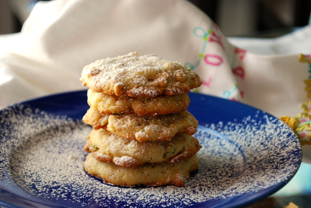 Lemon Basil Butter Cookies with Toasted Pine Nuts
