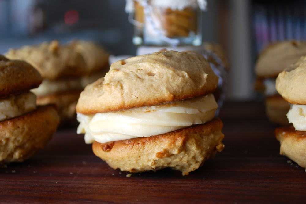 Peanut Butter Whoopie Pies with Salted Honey Vanilla Frosting