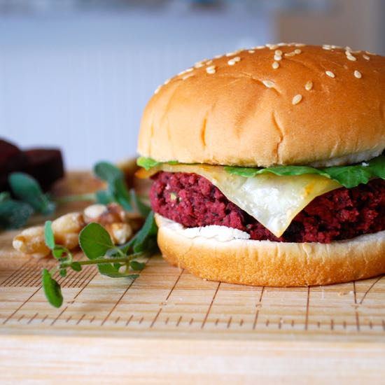 Herbed Beet, White Bean and Walnut Burgers