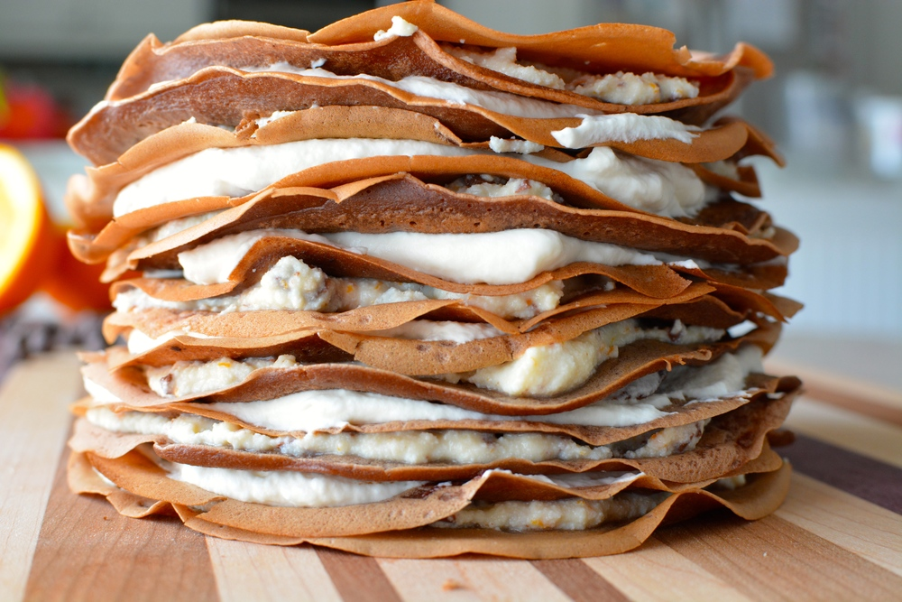Chocolate Cannoli Crepe Cake with Vanilla Whipped Cream ...
