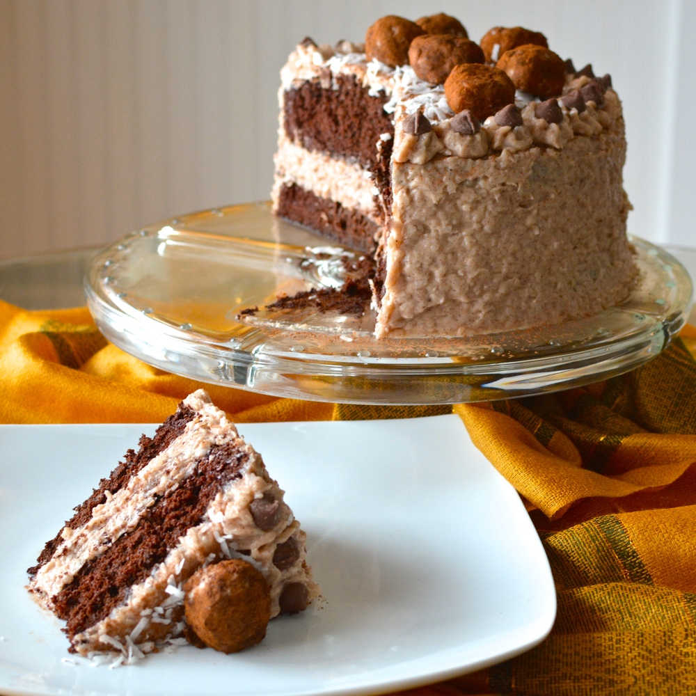 Irish Potato Cake - Rich Chocolate Cake with Cinnamon Coconut Cream Cheese Frosting