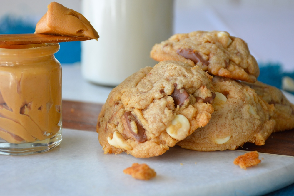 White Chocolate Peanut Butter Cookies with White Chocolate Chips and Crushed Peanut Butter Cups