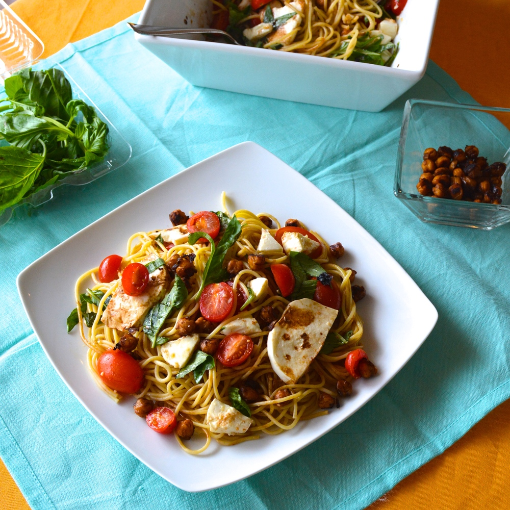 Simple Lemon Garlic Caprese Pasta with Crispy Balsamic Chickpeas