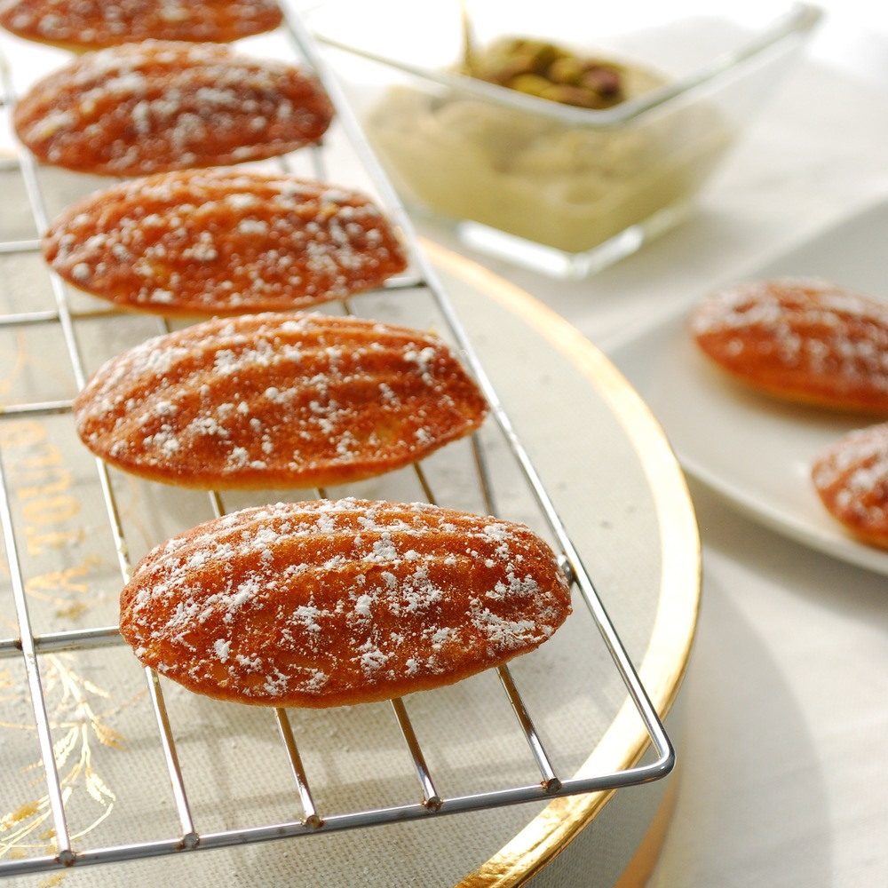 Apr 24 Orange Blossom Water Madeleines with Honey Pistachio Dipping ...