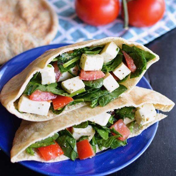 Tomato and Mozzarella Salad Pitas with Lemon Hummus