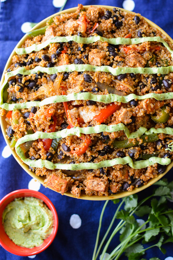 Black Bean Fajita Bowls with Avocado Sauce