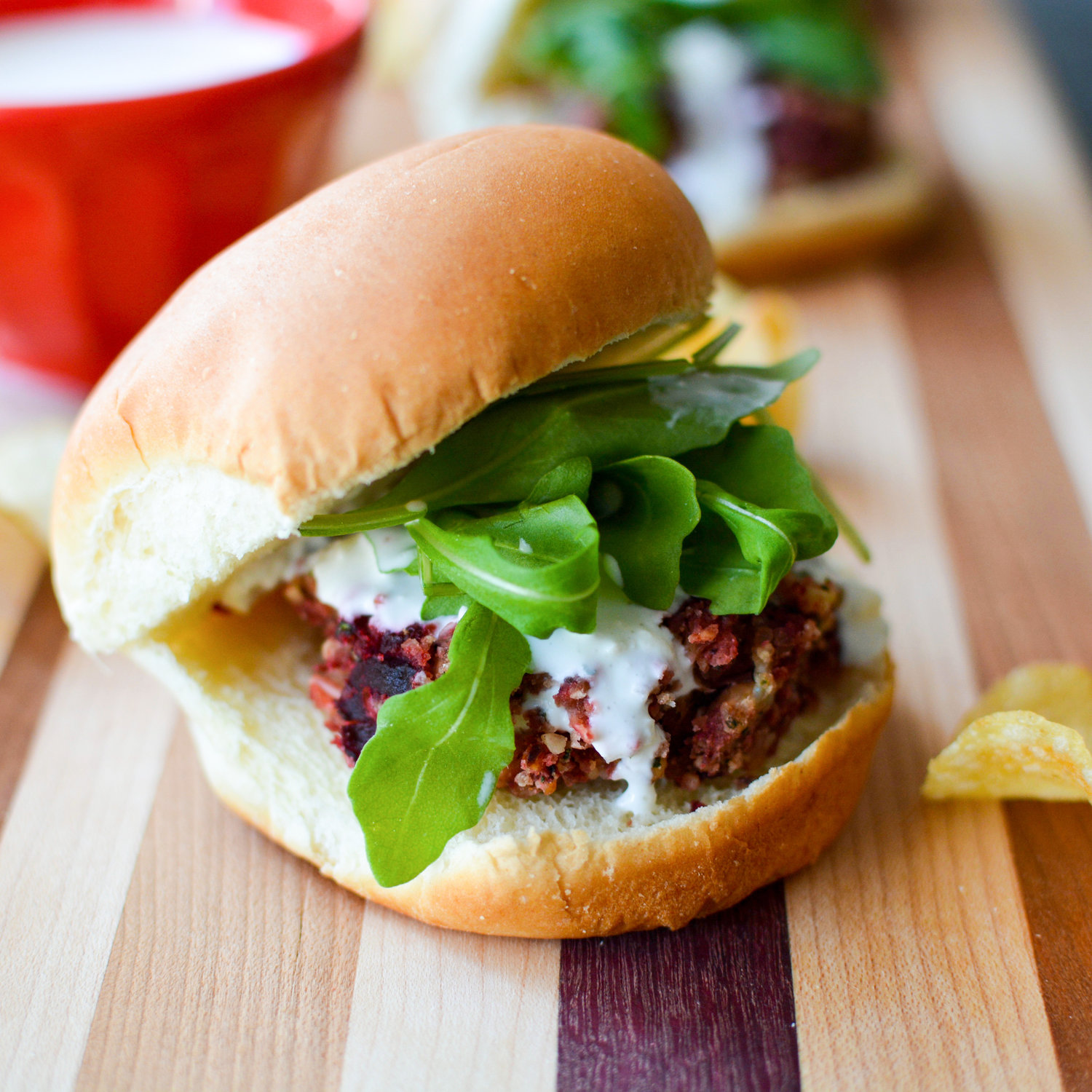 Beet, Bean and Blue Cheese Sliders