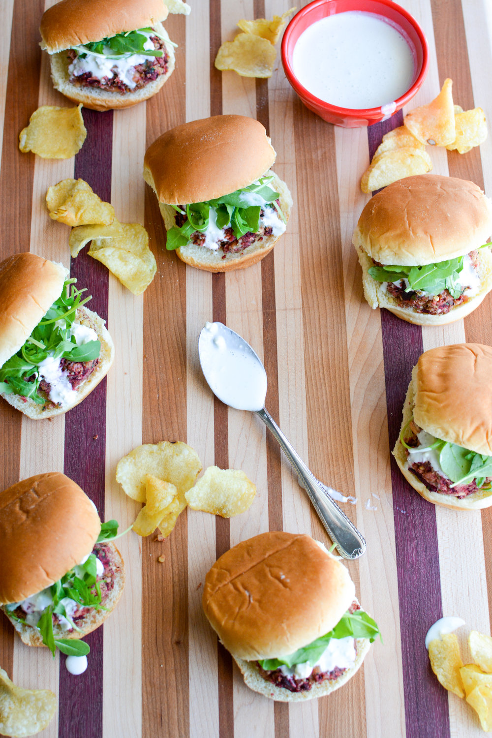 Beet, Bean and Blue Cheese Sliders with Blue Cheese Sauce - Kristin's Kitchen