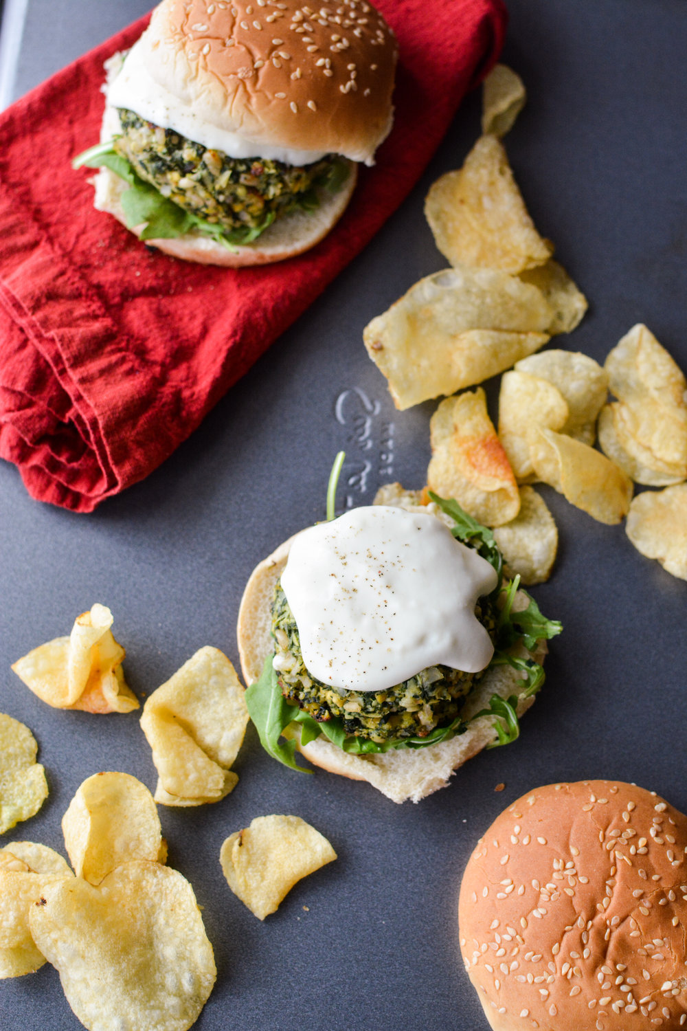 Cream Cheese Stuffed Spinach Artichoke Dip Burgers with White Sauce