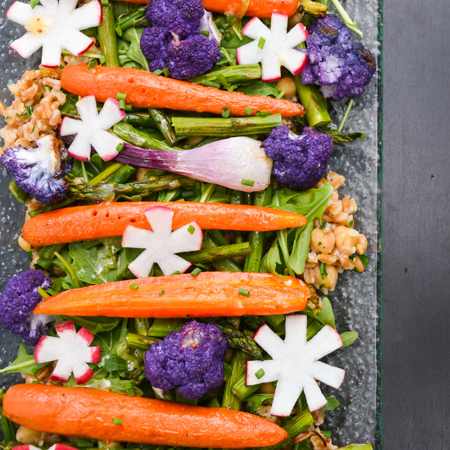 Spring Vegetables over Herbed Farro