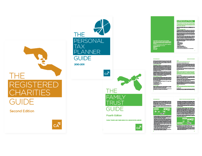 """CA Client Development books  set of6"""" x 9"""" perfect-bound books [suite of three covers and select interior spreads] — design/layout/illustration"""