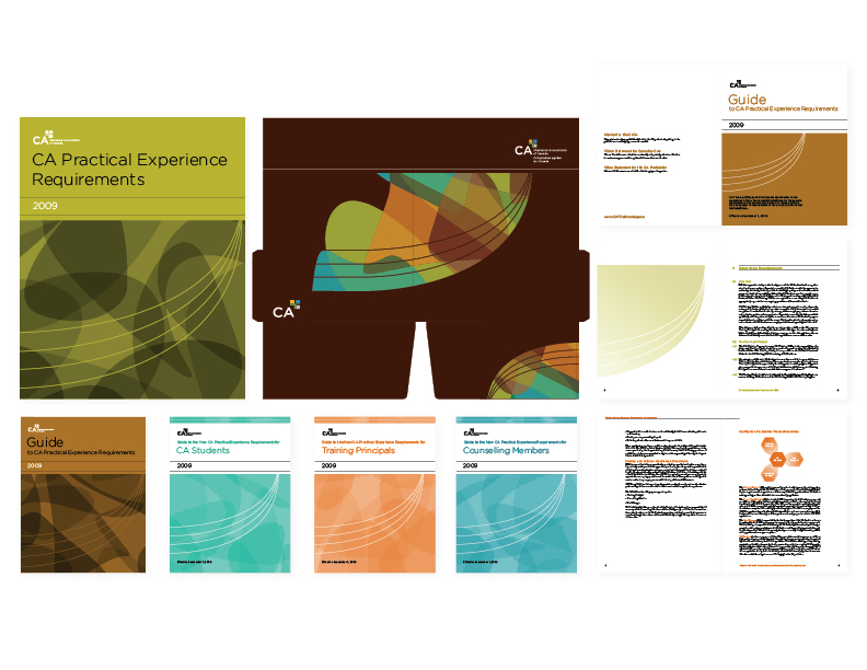 2009 CA Training Offices package   collateral + folder for accountant education campaign [covers for suite of 5 booklets, die-cut folder, and select interior spreads] — art-direction, layout design, graphics