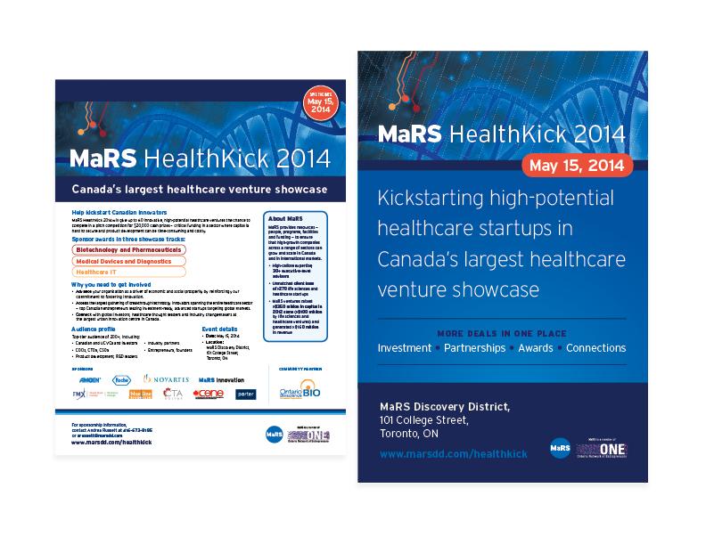 "MaRS Healthkick promo assets  8.5x11"" flyer + 24x36"" poster — design/graphics/layout"
