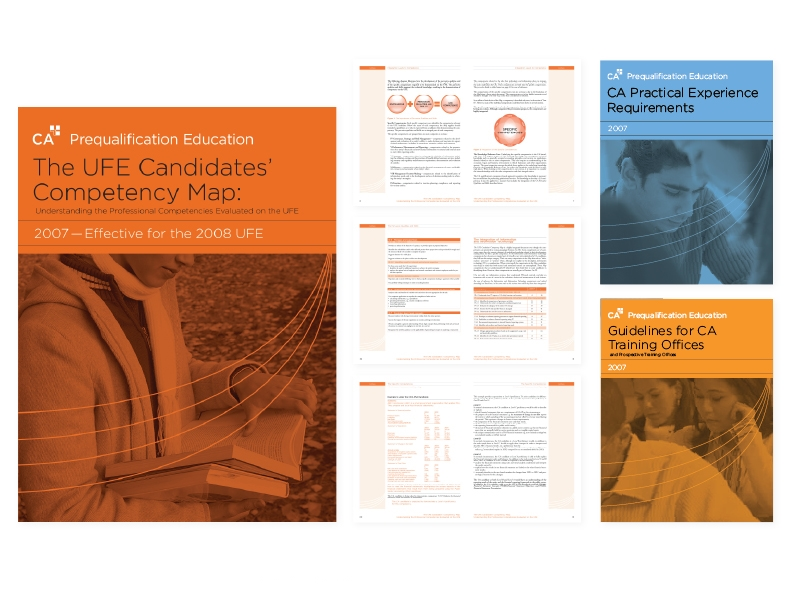 UFE Competency Map (and supplemental educational documents)  Suite of soft-cover student study — design/layout/graphics [covers for suite of 3 books and select interior spreads]