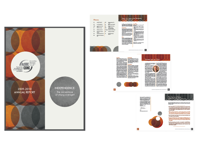"""AcSOC 2010 Annual Report   8.5"""" x 11"""" saddle-stitched booklet, 16 pages + cover —design/layout/graphics [cover and selected interior spreads]  (view the entire publication here)"""