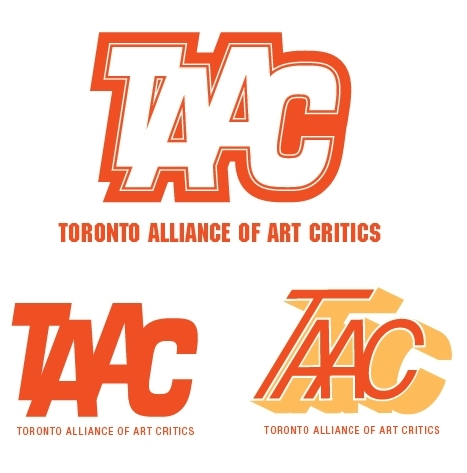 Toronto Alliance of Art Critics logo   Selected logo + simplified version + unused alternate — branding/identity development