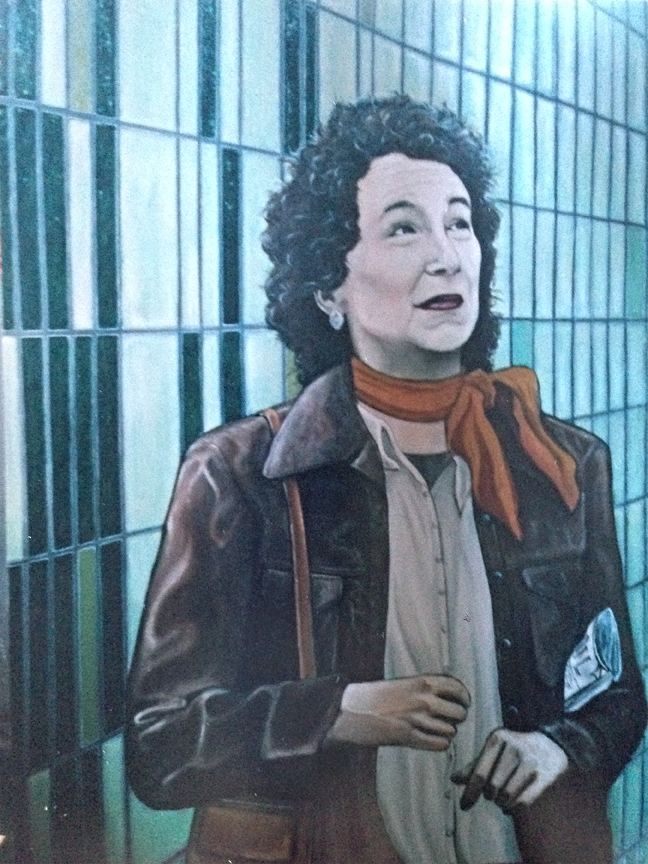 "Margaret Atwood at St. Andrew Station  36x48"", oil on canvas"