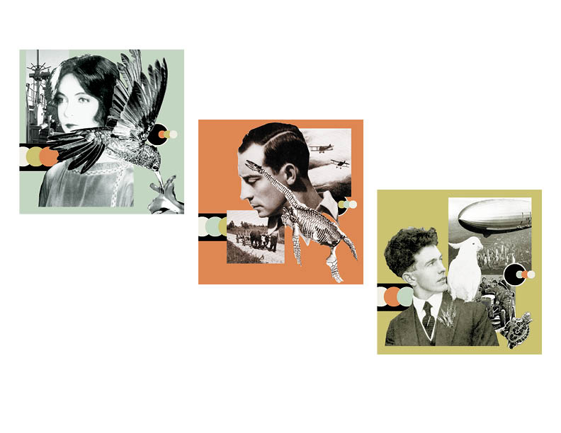 Modernist photo collages  series of 3 digital photo/vector compositions