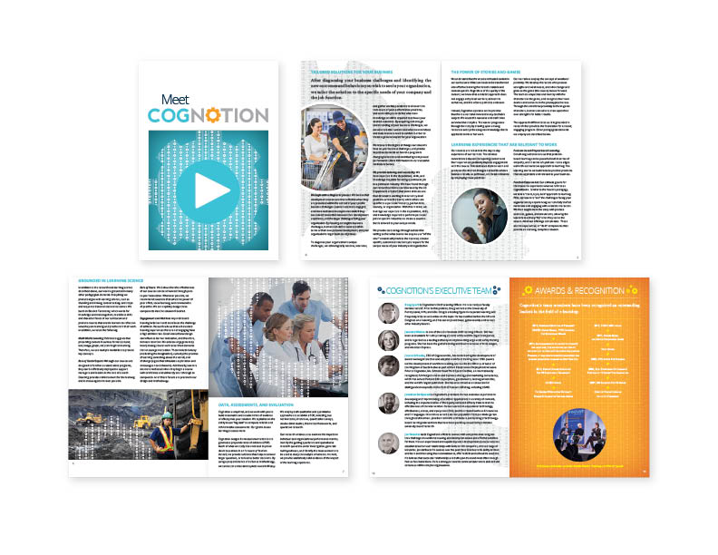 "Cognotion Inc. promotional brochure  7""x10"" 12-page digital booklet— design/layout   (view the entire publication here)"