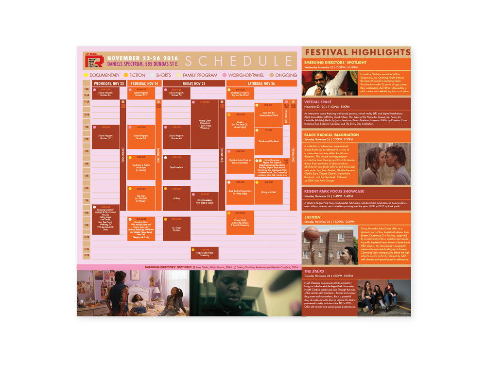 14th Annual regent Park Film Festival flyer (interior)