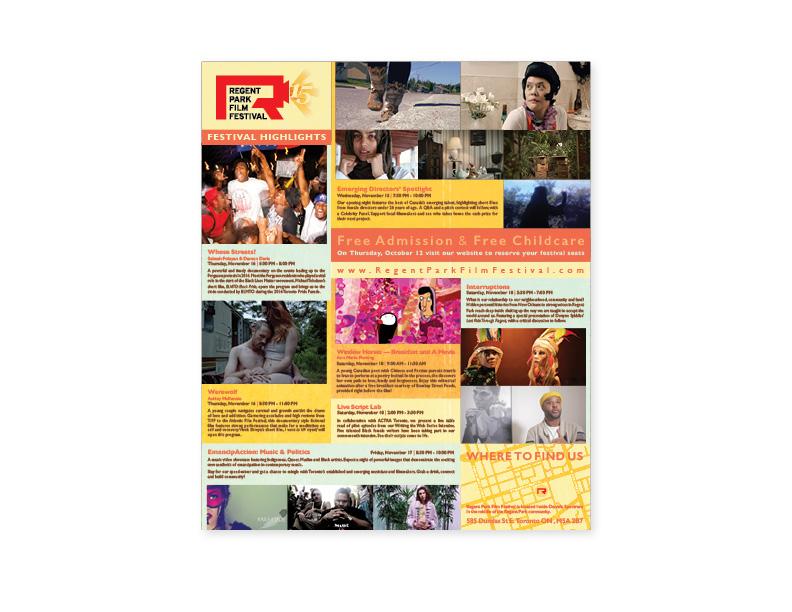 15th Annual Regent Park Film Festival flyer (interior)