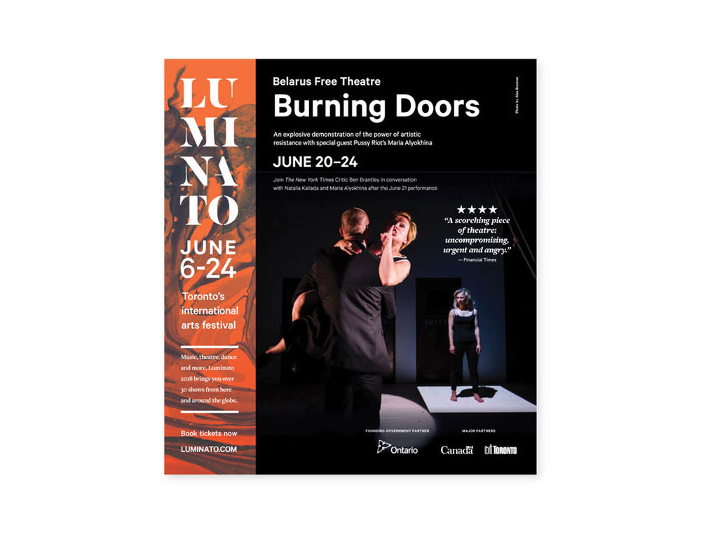 Luminato 2018 — Burning Doors —Globe & Mail 1/2 page ad