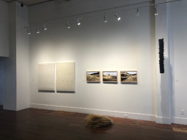 Installation shot from  SIMMER  at Root Division. Pegan Brooke diptych on left.