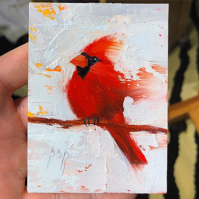 "Cardinal, 2.5x3.5"" oil. Details matter when I work this small. My favorite part? Those little toes hanging on. 🥰 . . . #oil #oilpainting #miniatureart #redhot #allaprima #impressionism #cardinal #audubon #birdart #pursuepretty #femaleartist #wwc #mobilealabama #paletteknife #paletteknifepainting #artistsoninstagram #catpopeart @winsorandnewton @rosemarybrushes"