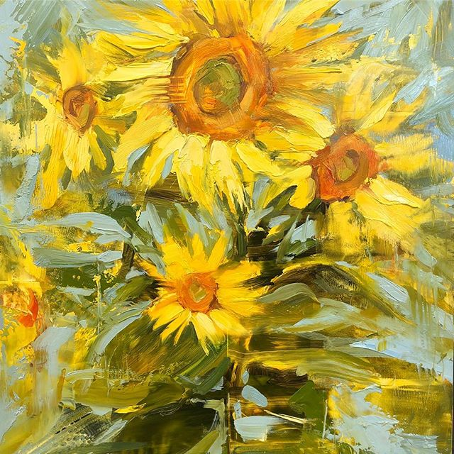 Another sunflower demo (sold) 🌻 #oilpainting #oil #risingtidesociety #artistsoninstagram #expressiveart #atmosphere #impressionism #contemporaryart #realism #sunflower #workshop #somobile #fairhopealabama #catpopeart #stilllife #stilllifepainting #allaprima @rosemarybrushes @winsorandnewton @blickartmaterials