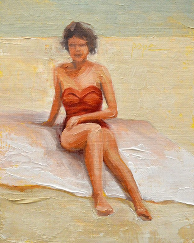 "Red Hot, 5x7"" oil.  Sun's out, buns out. Getting pumped for this weekend's workshop with @lisacwarren and @centralartsanctuary 🥳 . . . #oilpainting #oil #figuredrawing #figurepainting #figurativeart #beach #bikini #vintagefashion #contemporaryart #allaprima #paletteknife #impressionism #highkey #realism #risingtidesociety"