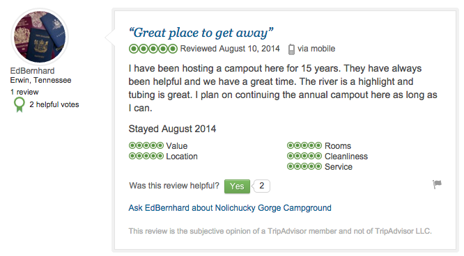 Trip Advisor - Camping Review
