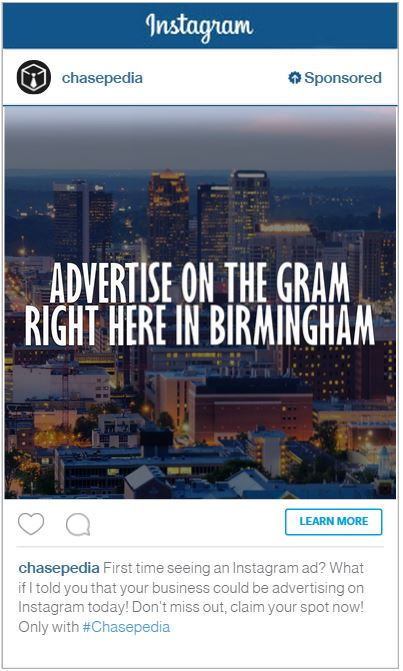 Chasepedia Instagram Advertising Birmingham