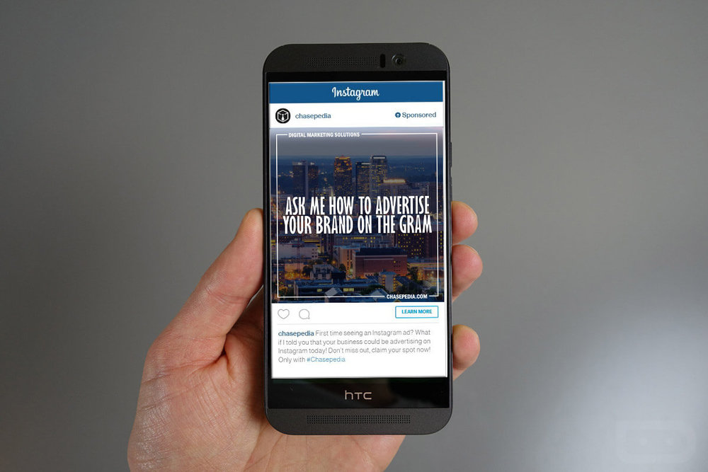 Chasepedia Instagram Advertising Scrolling Ads with Learn More Instagram Marketing Button
