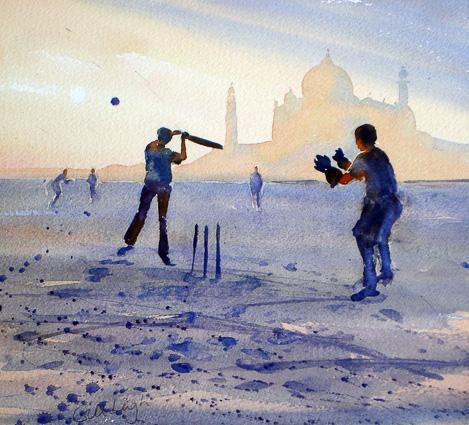 Beach Cricket near the Taj