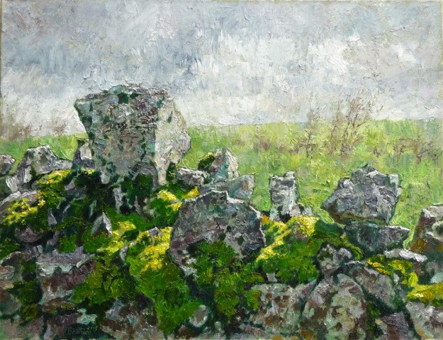 Stones and Moss 2013 oil on linen 51.66 cm