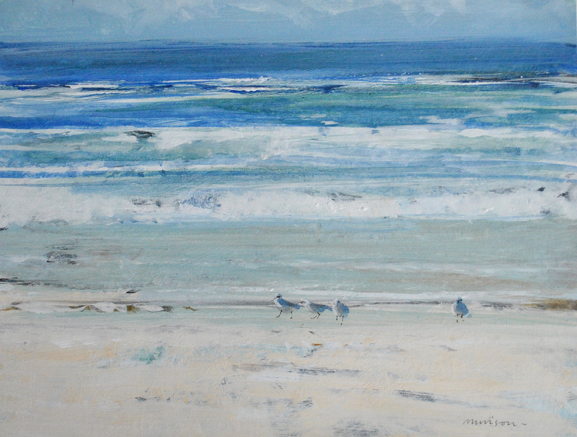 Gulls on the Beach acrylic on board.