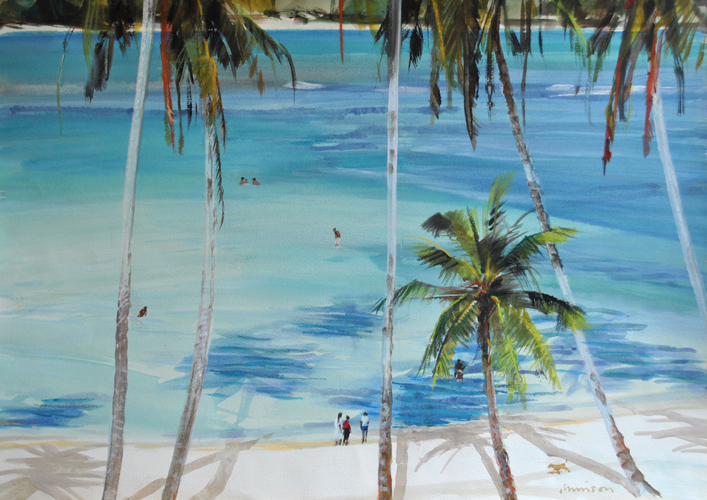 Tropical Beach acrylic on paper.