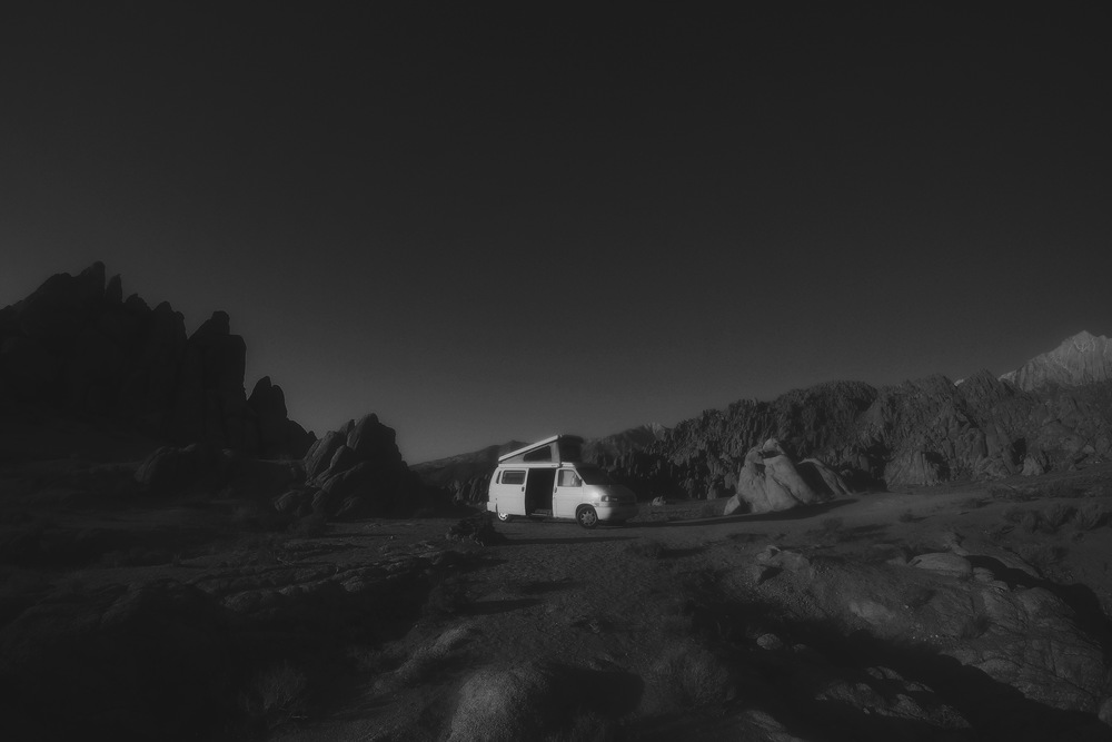 Campy in the Alabama Hills.