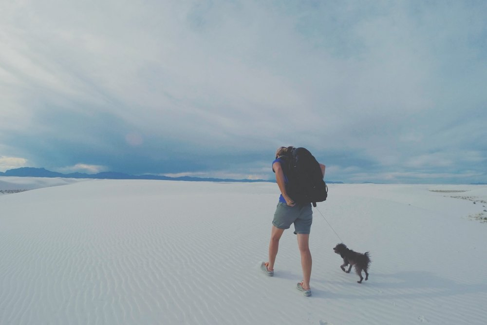 Hiking out to our spot at white sands National Monument