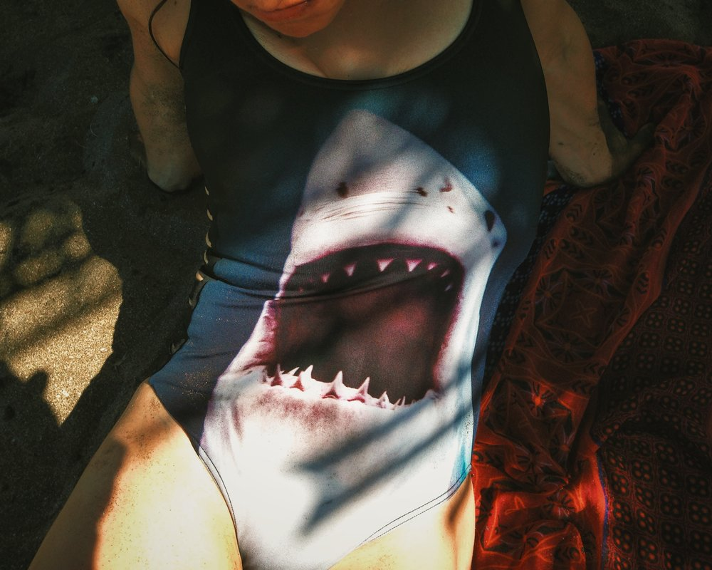 Shira and her shark swimsuit