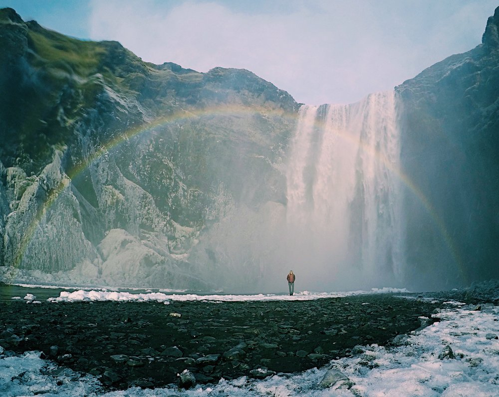 Walking under my favorite waterfall AND a rainbow