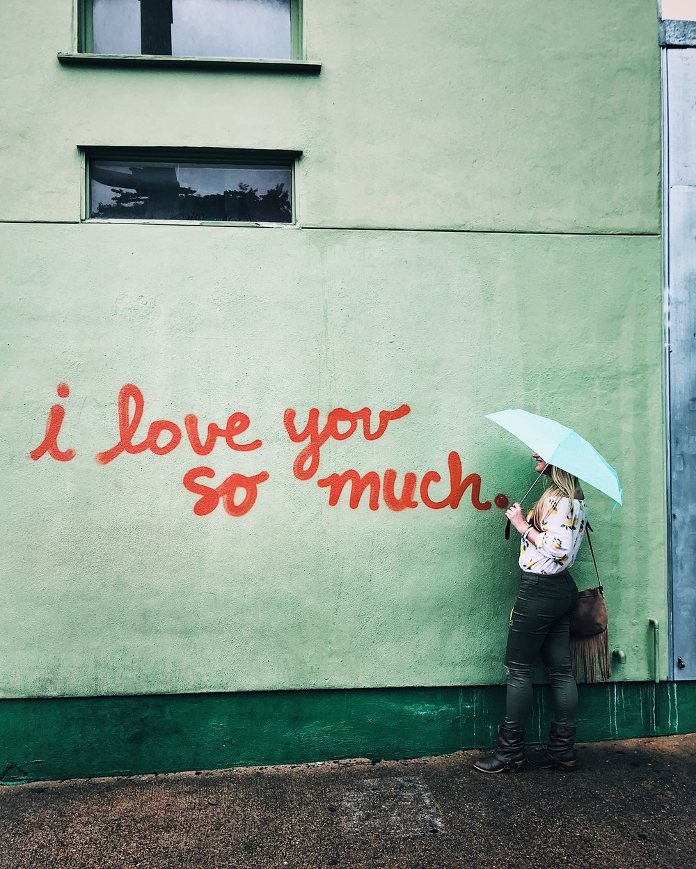 "Jo's famous ""I love you so much"" wall graffiti"