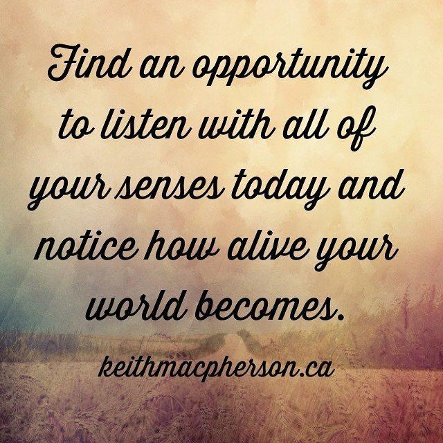 #keithmacpherson #dailyintention #listen #senses #mindfulness #awareness #alive #now