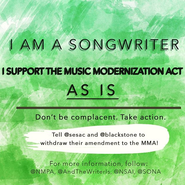 Gotta do my part.  Follow @andthewriteris @nsaiofficial and @rossgolan to find out how you can help too.  @sesac @blackstone withdraw your amendment.